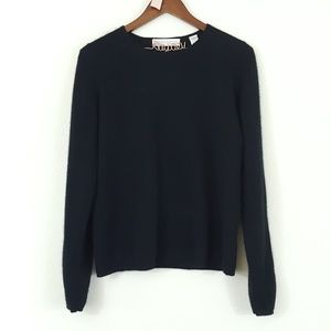 Valerie Stevens Two Ply Cashmere Sweater in Black